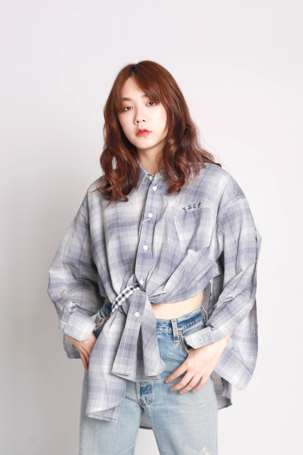 Open Sleeves Shirt - Green Check
