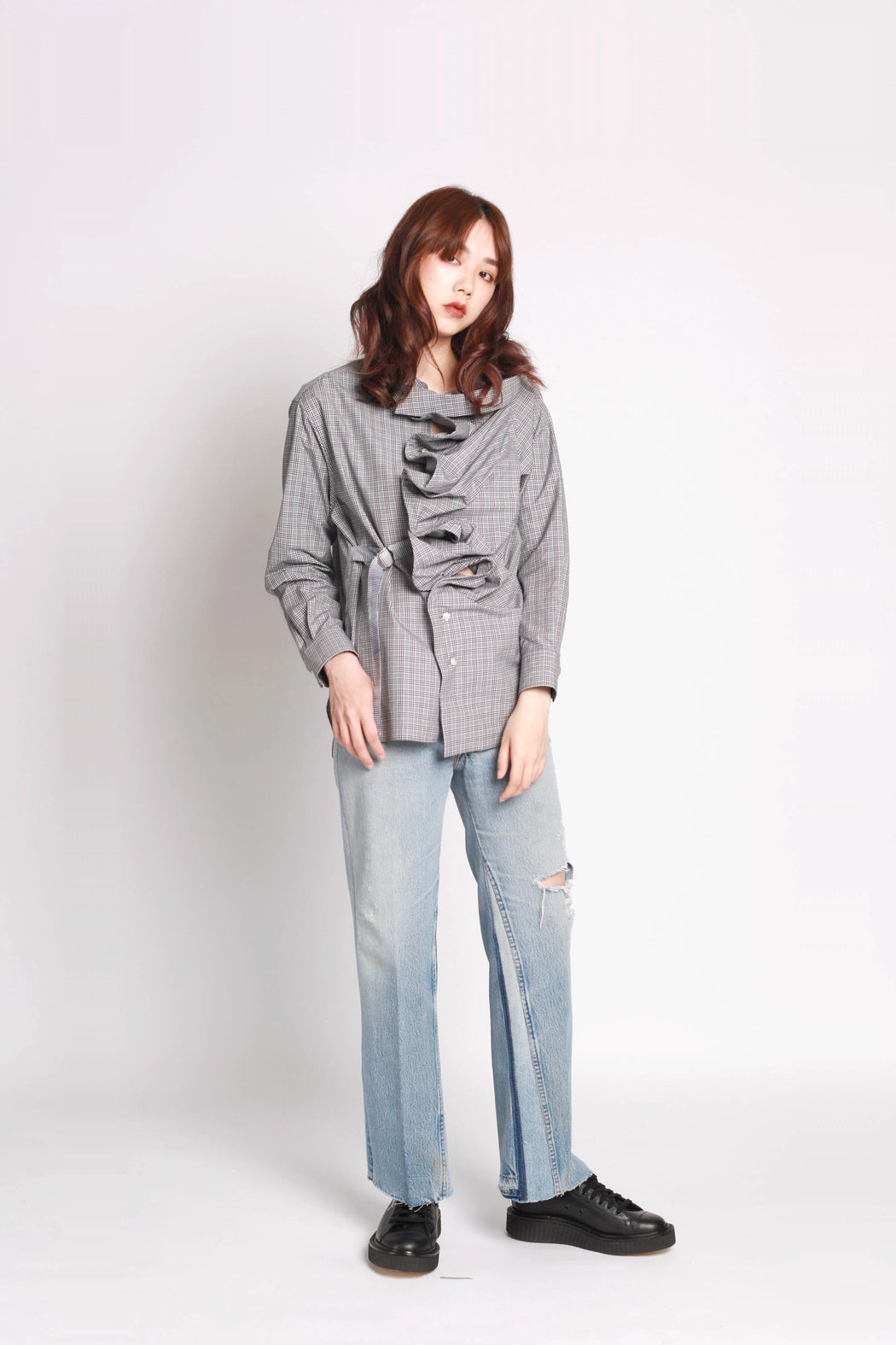 Ruffled Shirt - Blue Check