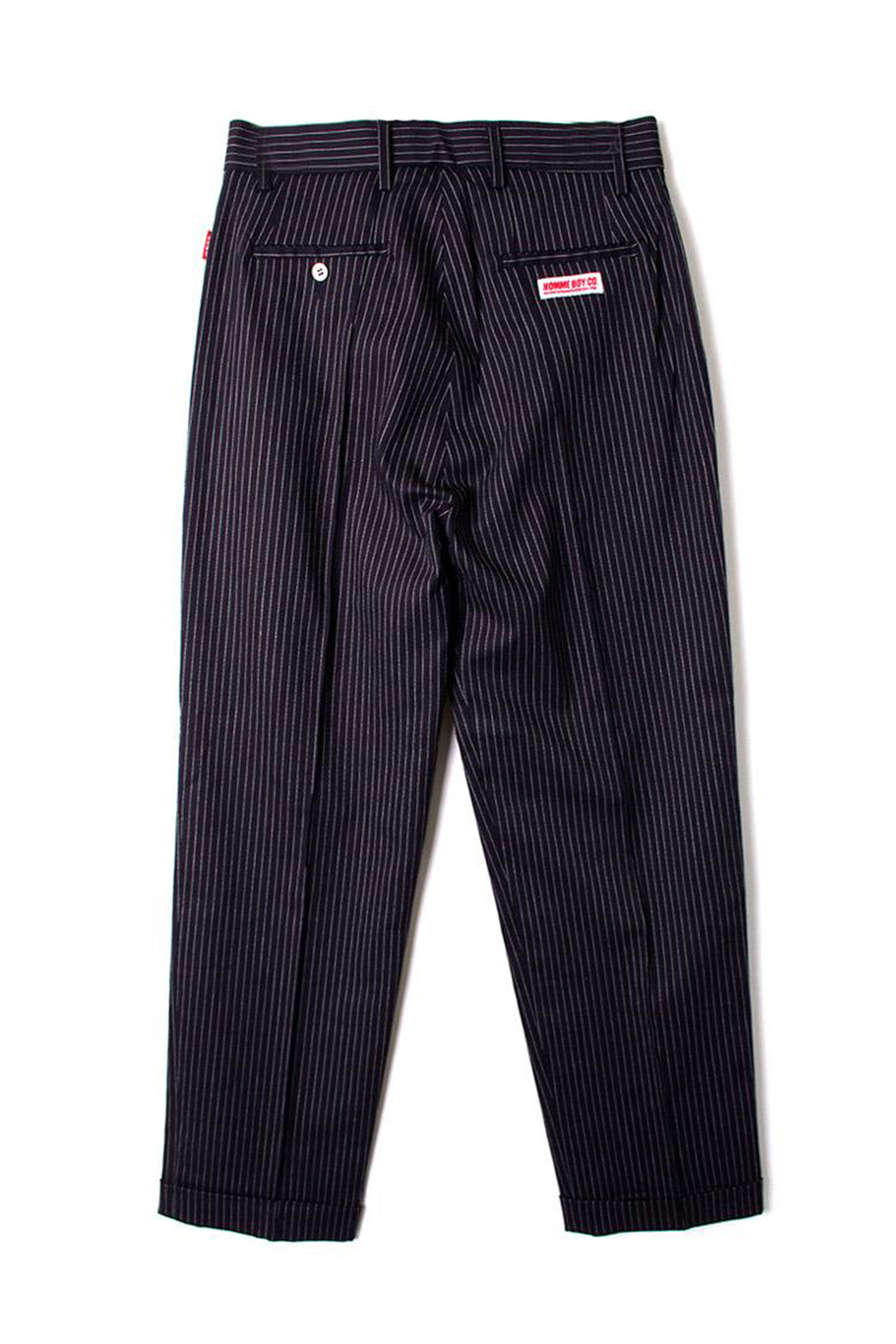 Pleated Trousers - Navy Stripe