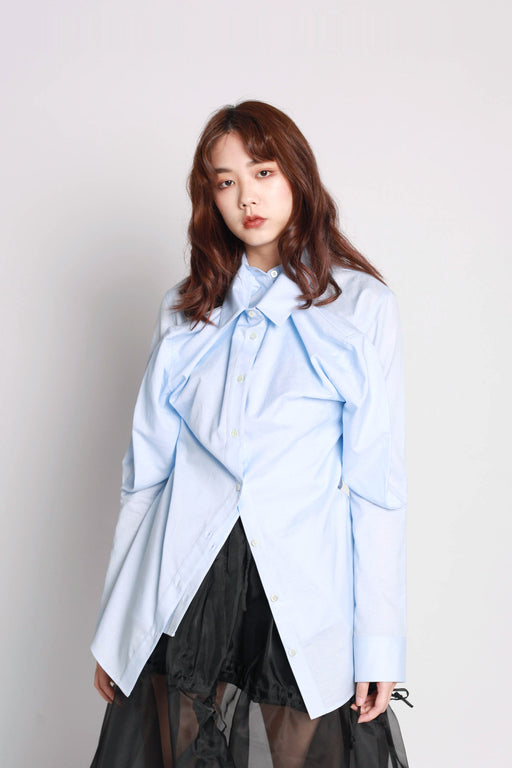 Double Front Fitted Shirt - Blue
