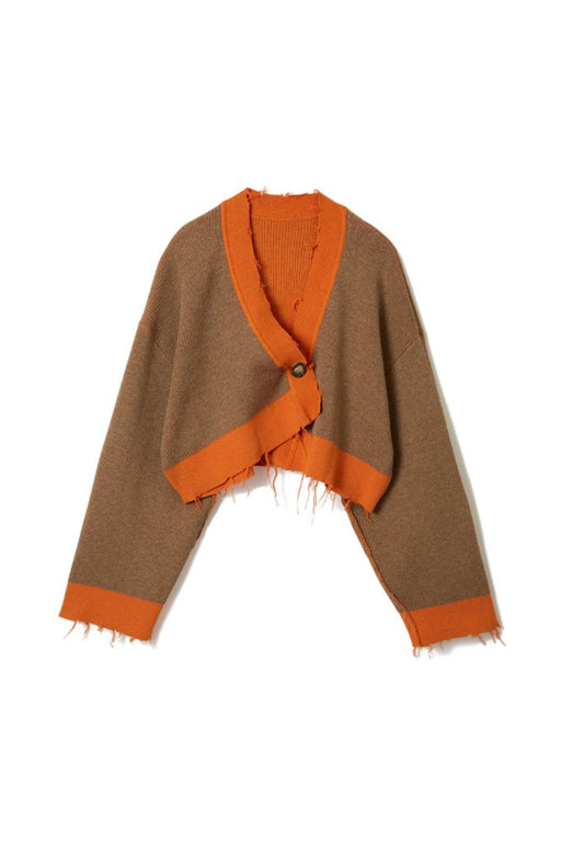 Double Face Rib Cardigan - Orange