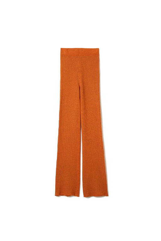Double Face Rib Line Pants - Orange