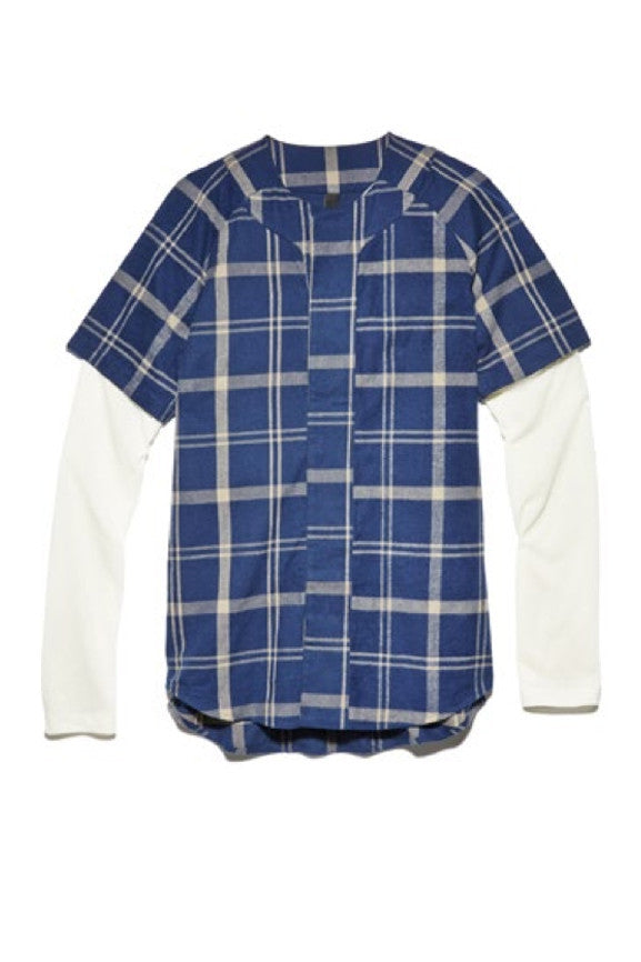 Trompe L'oeil Hem Shirt - Blue Plaid