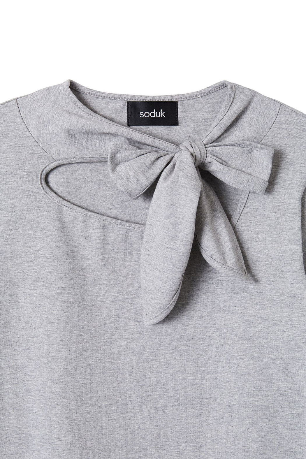 Ribbon Tie Long T-shirt - Grey