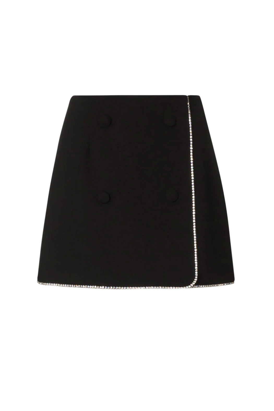 Crystal Wrap Mini Skirt - Black