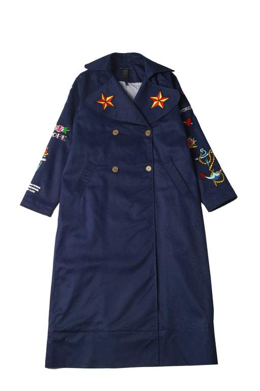 Patch Trench Coat - Navy