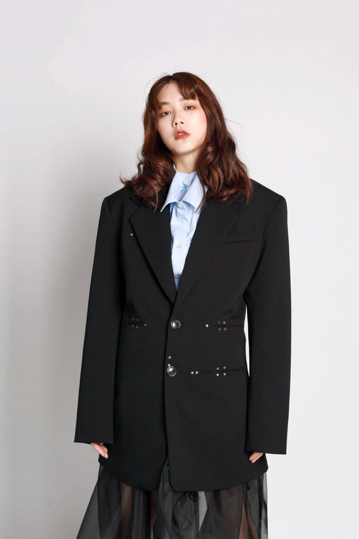Fitted Blazer with Shoulder Pads - Black