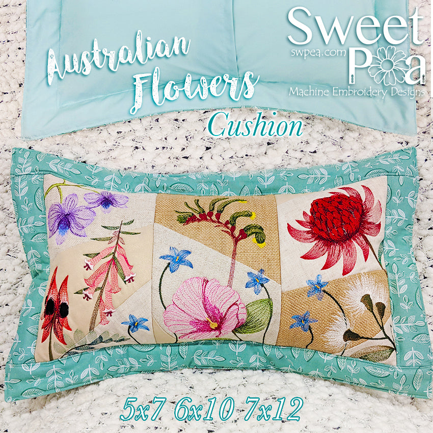 Australians Flower Cushion 5x7 6x10 7x12 in the hoop