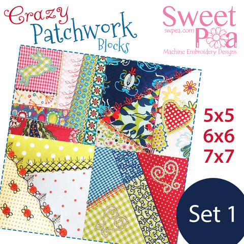 Crazy patchwork in the hoop, machine embroidery design