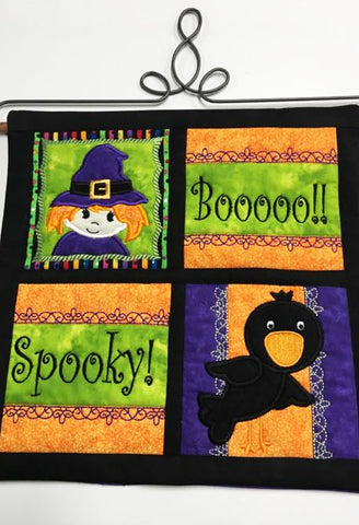 HALLOWEEN QUILT 5X5, 6X6, 7X7 AND 8X8 IN THE HOOP MACHINE EMBROIDERY DESIGN