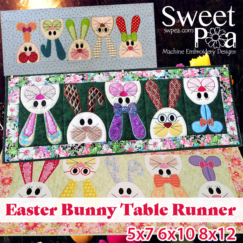 Machine Embroidery Designs Easter Bunny Table Runner In The Hoop Sweet Pea