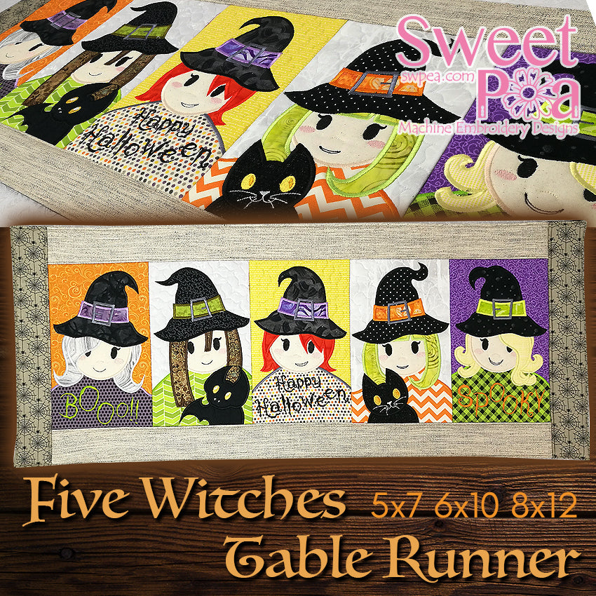 Five witches 5x7 6x10 8x12 in the hoop