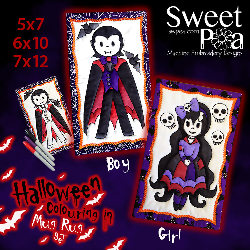 Halloween Boy and Girl Colouring in Mugrug Set 5x7 6x10 7x12 updated