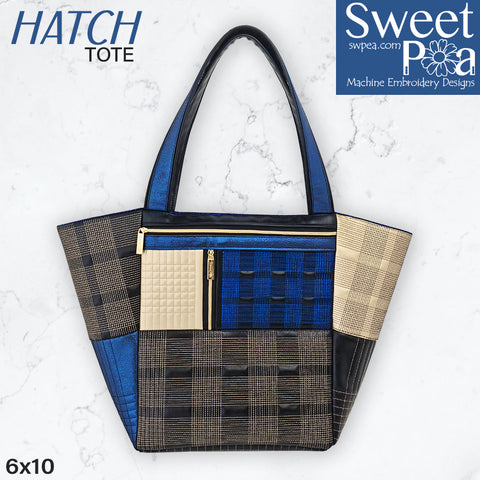 Hatch tote bag plaid machine embroidery in the hoop design