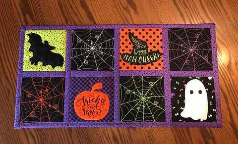Spiders web quilt blocks and table runner 4x4 5x5 6x6 7x7 in the hoop machine embroidery