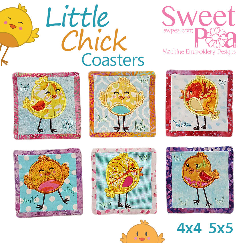 Little Chick Coasters 4x4 5x5 in the hoop