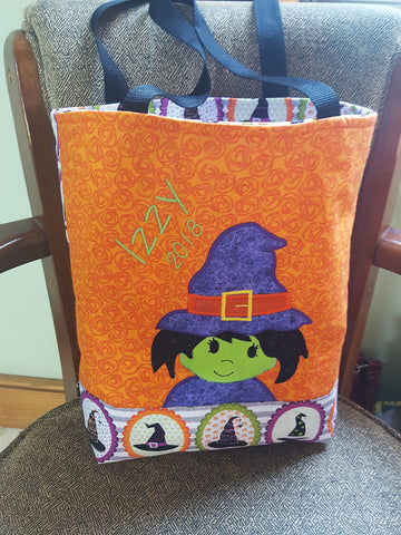 WITCH TABLE RUNNER 6X10 7X12 IN THE HOOP MACHINE EMBROIDERY DESIGN