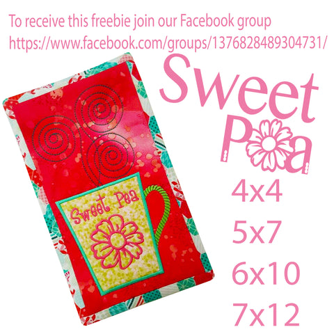 Free In The Hoop Machine Embroidery Designs - Sweet Pea