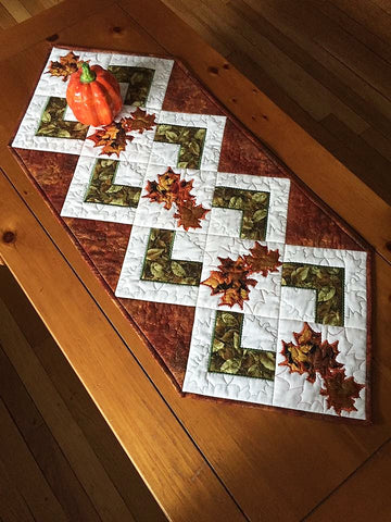 FALL LEAVES QUILT BLOCK AND TABLE RUNNER 4X4 5X5 6X6 HOOP