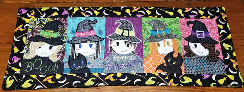 Five Witches table runner 5x7 6x10 8x12 in the hoop machine embroidery design