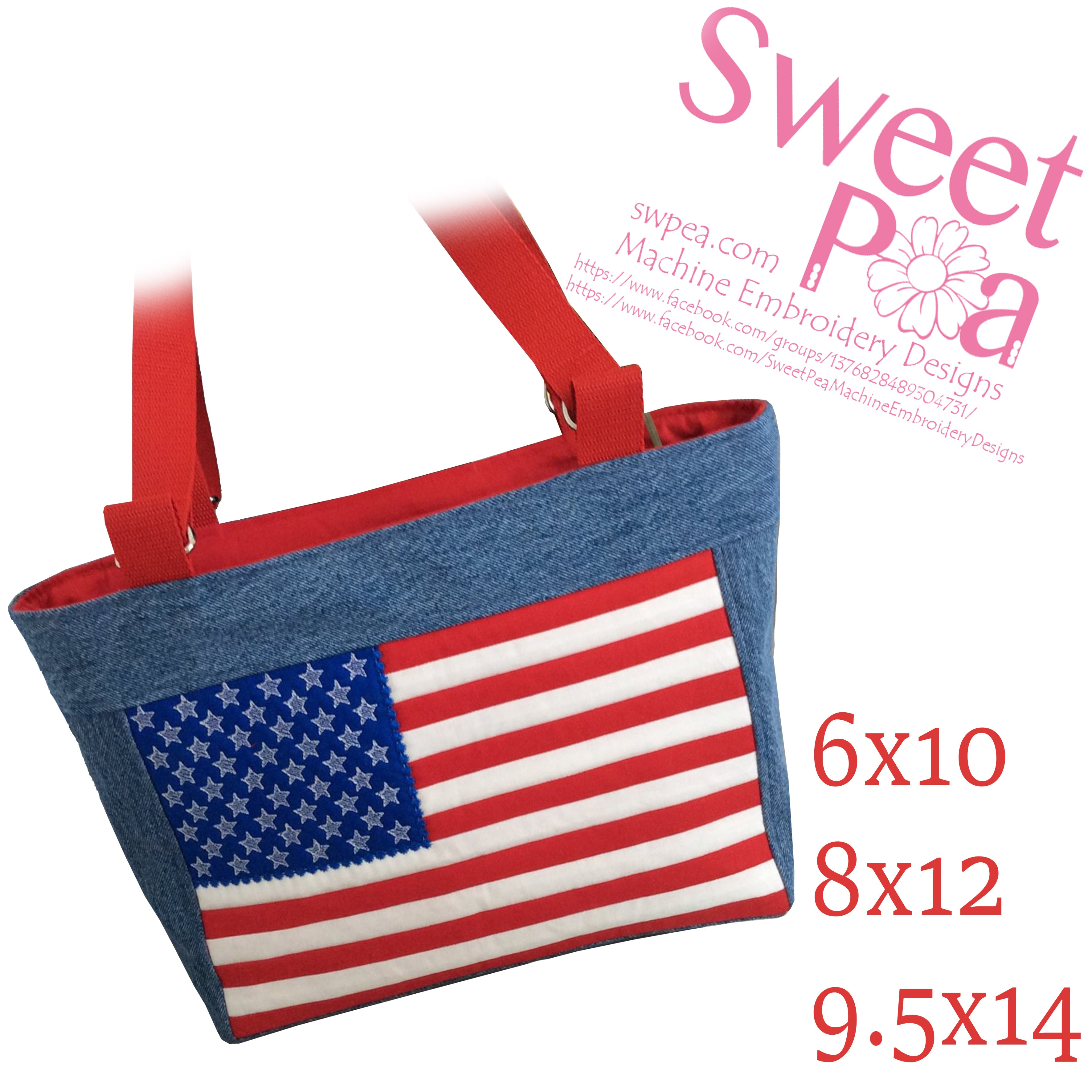 USA flag bag 6x10 8x12 9.5x14 in the hoop machine embroidery design