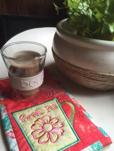 free sweet pea coffee mug rug