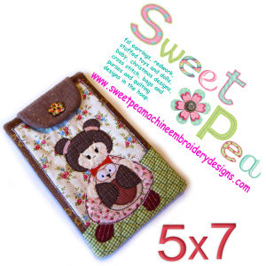 case with strap japanese girl and owl 5x7