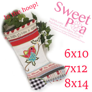 Christmas stocking in the hoop 6x10 7x12 8x14 machine embroidery design