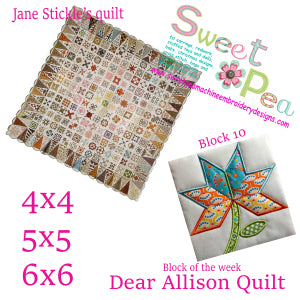 Dear Allison Quilt block 10 of the week 4x4 5x5 6x6 in the hoop machine embroidery
