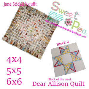 Dear Allison Quilt block 2 of the week 4x4 5x5 6x6 in the hoop machine embroidery