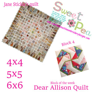Dear Allison Quilt block 4 of the week 4x4 5x5 6x6 in the hoop machine embroidery