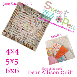 Dear Allison Quilt block 5 of the week 4x4 5x5 6x6 in the hoop machine embroidery