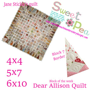 Dear Allison Quilt block 7 border of the week 4x4 5x5 6x6 in the hoop machine embroidery