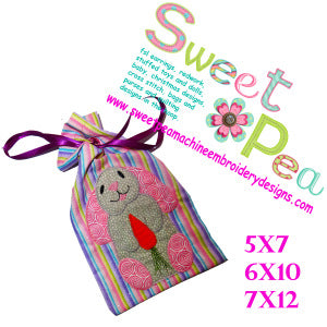 Easter bunny bag 5x7 6x10 and 7x12 in the hoop machine embroidery design