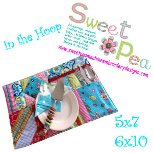 Placemat pocket 5x7 6x10 in the hoop machine embroidery design