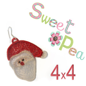 santa fsl earrings for the 4x4 and 5x7 hoop