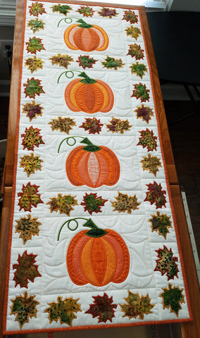 PUMPKIN QUILT BLOCK AND TABLE RUNNER 5X7 6X10 8X12 9.5X14 IN THE HOOP MACHINE EMBROIDERY DESIGN