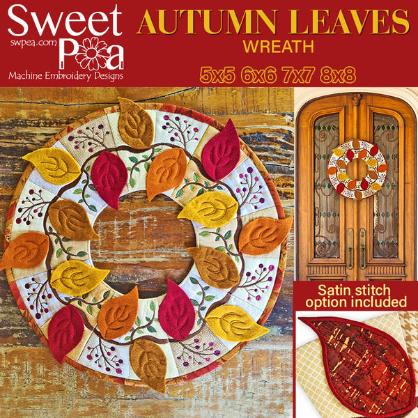 Autumn Leaves Wreath 5x5 6x6 7x7 8x8