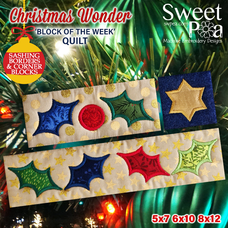 BOW Christmas Wonder Mystery Quilt Sashing, Borders and Corner Blocks