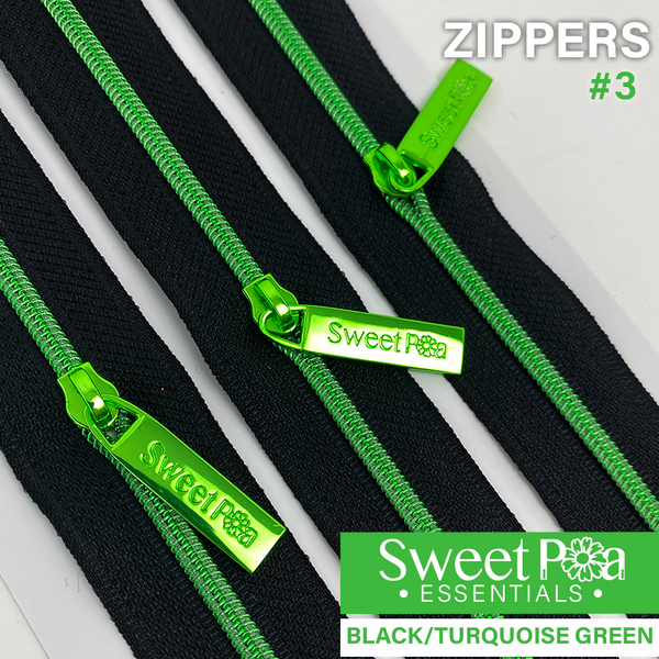 Sweet Pea #3 Zippers - BLACK/TURQUOISE GREEN