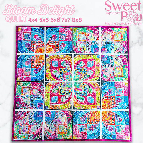 Bloom Delight Quilt 4x4 5x5 6x6 7x7 8x8