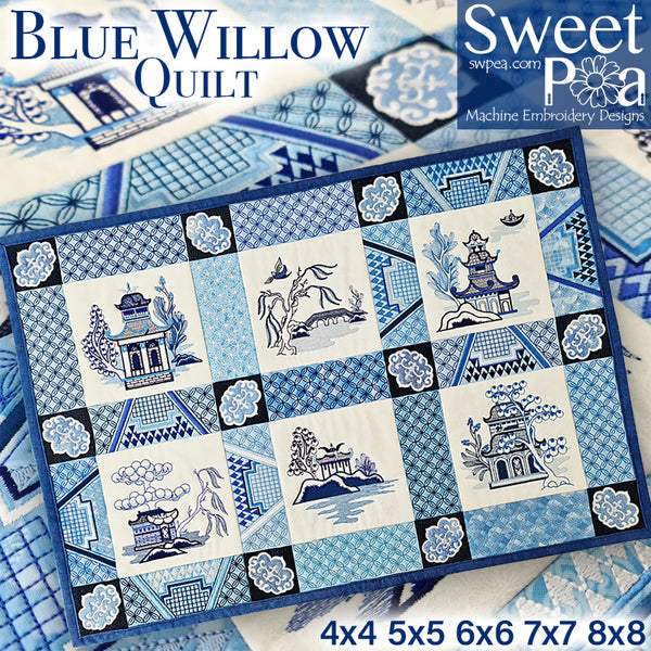 Blue Willow Quilt 4x4 5x5 6x6 7x7 8x8