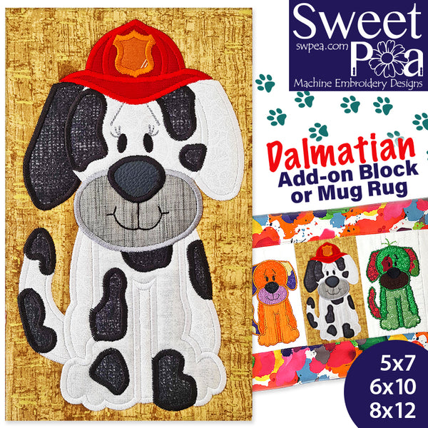 Dalmatian Add-on Block or Mug Rug 5x7 6x10 8x12 - Charity Design