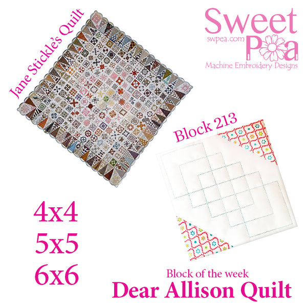 Dear Allison quilt block 213 in the 4x4 5x5 6x6