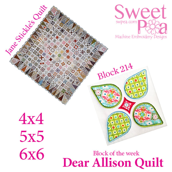 Dear Allison quilt block 214 in the 4x4 5x5 6x6