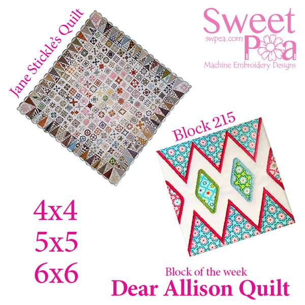 Dear Allison quilt block 215 in the 4x4 5x5 6x6