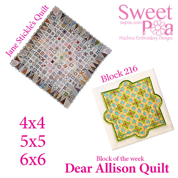 Dear Allison quilt block 216 in the 4x4 5x5 6x6