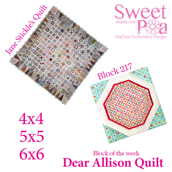 Dear Allison quilt block 217 in the 4x4 5x5 6x6