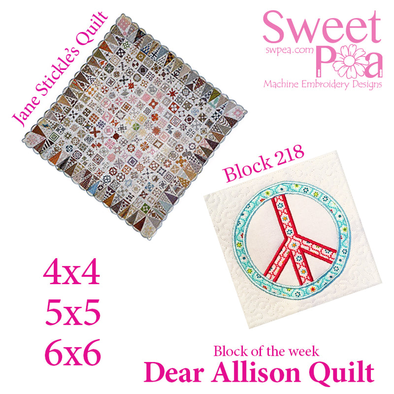 Dear Allison quilt block 218 in the 4x4 5x5 6x6