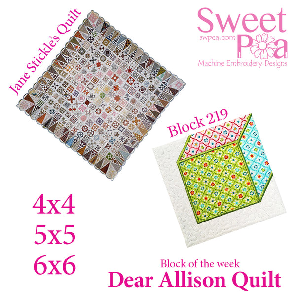 Dear Allison quilt block 219 in the 4x4 5x5 6x6